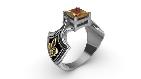 Ring with citrine and heraldic lily