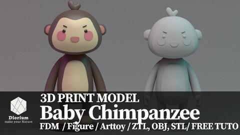 Baby chimpanzee Free 3D print model