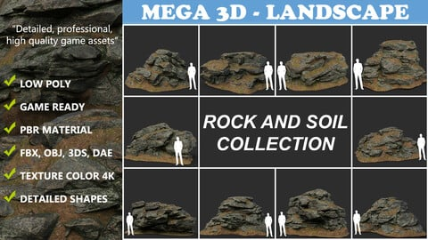 Low poly Rock and Soil Collection 210319