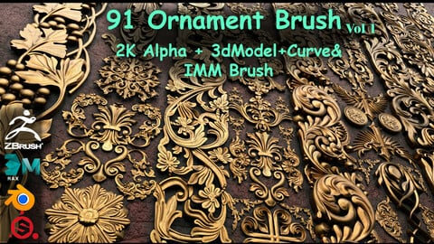 Fred's 91 Ornament Brushes & 3dmodel & KitBash  Vol 1