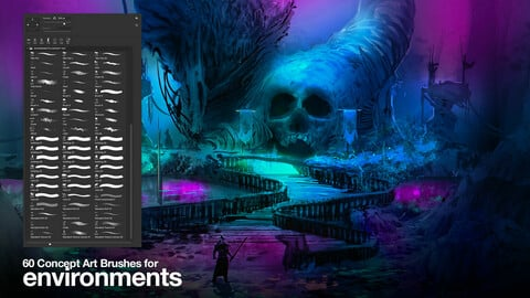 60 brushes for Concept Art | Environments