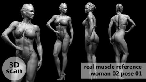 3D scan real muscleanatomy Woman02 pose 01