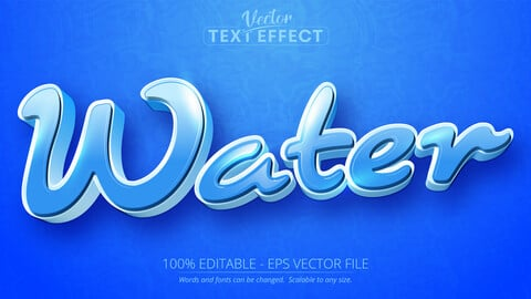 Water text, cartoon style editable text effect