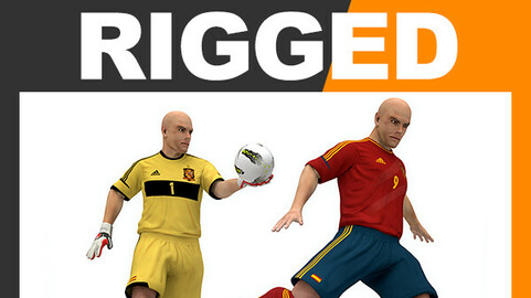 Rigged Football Player and Goalkeeper - Spain National Team