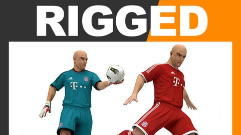 Rigged Football Player and Goalkeeper - FC Bayern Munchen