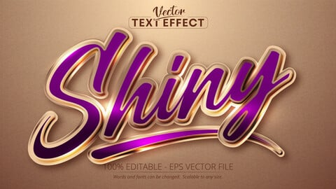 Shiny text, shiny rose gold color style editable text effect