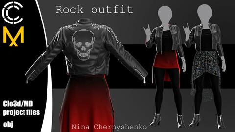 Rock outfit. Marvelous Designer/Clo3d project + OBJ.