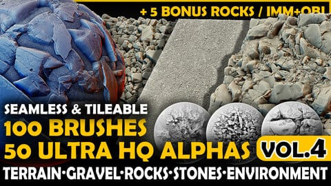 Ultra HQ Terrain / Rock Seamless Sculpt Zbrush brushes + Alphas (Blender, Substance, etc.) Vol.4