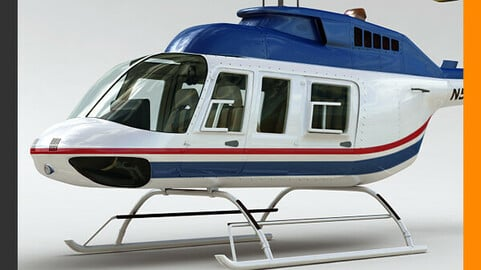 Helicopter Commercial Bell 206L with Interior