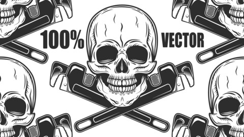 Vintage Monochrome Skull Builder From New Construction With Crossed Wrenches Plumbing And Gas Pipes Isolated Vector Illustration. 100% Vector