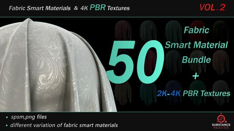 50 High Quality Fabric Smart Material Bundle + 4K PBR Texture_VOL.2