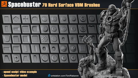 Spacebuster | 70 Hard Surface VDM Brushes for Zbrush