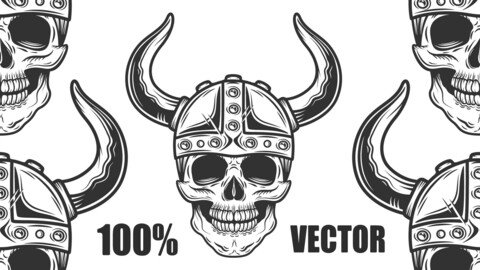 Vintage Skull In The Viking Helmet In Monochrome Style Isolated Illustration. 100% Vector