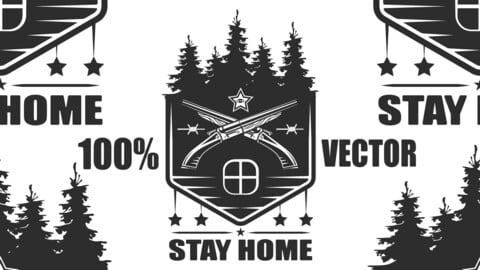 Vintage Monochrome Stay Home Stay Safe With Forest, Crossed Shotgun With American Stars And Barbed Wire On White Background Isolated Vector Illustration
