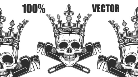 Vintage Monochrome Skull King With Crown Builder From New Construction With Crossed Wrenches Plumbing And Gas Pipes Isolated 100% Vector Illustration