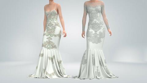 Wedding Dresses Marvelous Designer ,Clo3D , Project File + OBJ + FBX