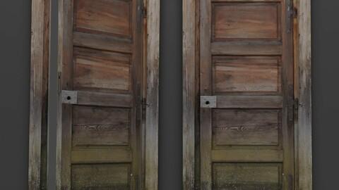 Abandoned Wooden Door Low-poly 3D model