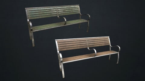 Street Bench - Low Poly