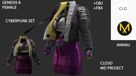 GENESIS 8 FEMALE: CYBERPUNK SET#4: CLO3D, MARVELOUS DESIGNER PROJECT| +OBJ +FBX