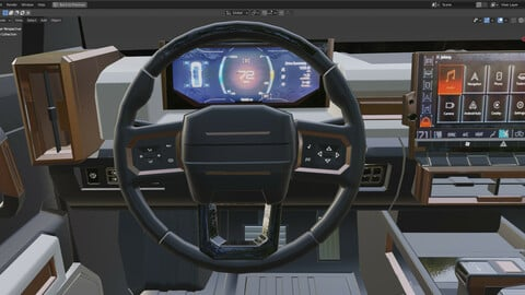 SUV interior lowpoly with textures Low-poly