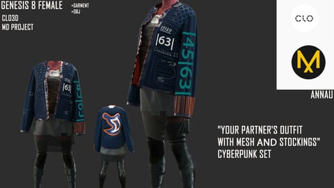 """GENESIS 8 FEMALE: """"YOUR PARTNER'S OUTFIT WITH MESH AND STOCKINGS"""" CYBERPUNK SET: CLO3D, MARVELOUS DESIGNER PROJECT+GARMENT