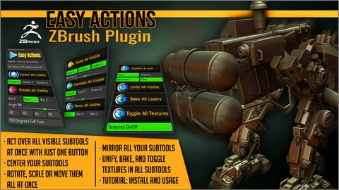 Easy Actions ZBrush Plugin