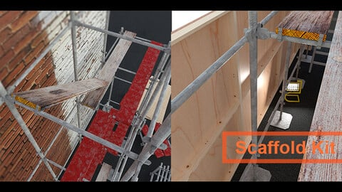 Construction or building site kit bash of scaffold related 3d