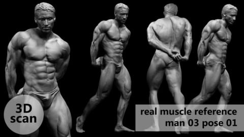 3D scan real muscleanatomy Man03 pose 01