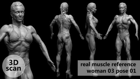 3D scan real muscleanatomy Woman03 pose 01
