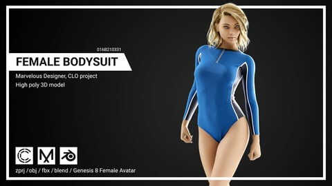Female Bodysuit Marvelous designer, CLO 3D project
