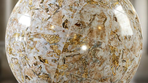 PBR -  PORCELAIN TILES WITH GOLD INLAYS- 4K MATERIAL