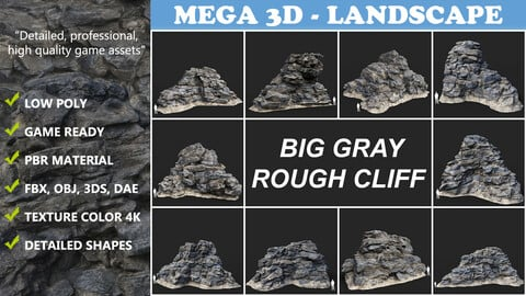 Low poly Big Gray Rough Rock Cliff Collection 210323