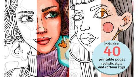 Color Book - portrait - realistic & cartoon style - 40 pages