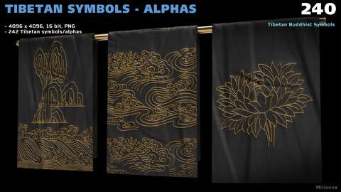 240 Tibetan Symbols - Alphas (PNG)