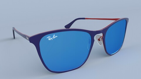 Ray Ban Sunglasses Junior Blue and Red Blue Mirror 3D model