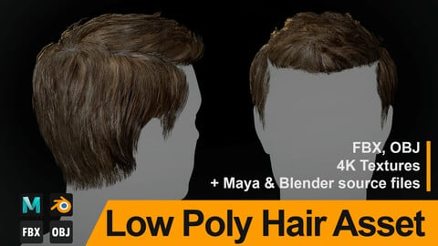 "Low Poly Hair Asset ""Jacob"" - FBX/OBJ + Maya, Blender source file, 4K Textures"