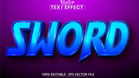 Sword text, cartoon style editable text effect