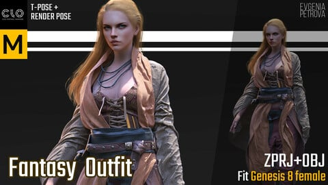 MD, CLO3D. FANTASY OUTFIT PROJECTS + OBJ
