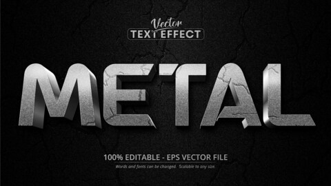 Metal text, textured silver color style editable text effect