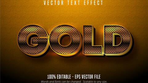 Metallic golden text effect, shiny gold alphabet style