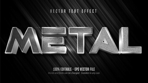 Metal text, silver color metallic style editable text effect