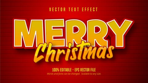 Merry Christmas text, cartoon style editable text effect on red color background