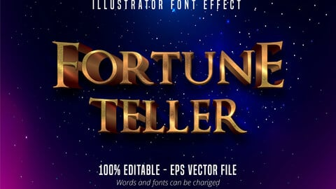 Fortune teller text, golden and silver color style editable text effect