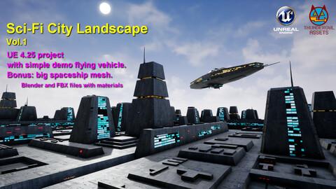 Sci-Fi City Landscape UE4 (update v1.2)