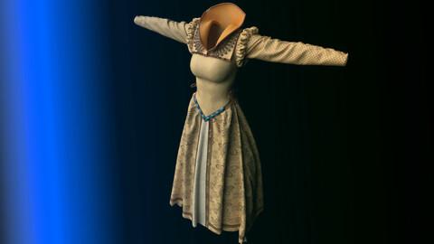 Medieval Golden Beige Dress