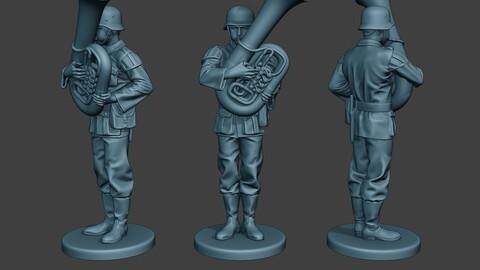 German musician soldier ww2 Stand bass horn G8