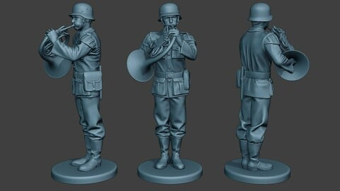 German musician soldier ww2 Stand french horn G8