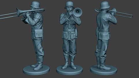 German musician soldier ww2 Stand trombone G8