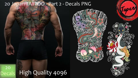 20 Japan Tattoo - Part 02 - DeCals PNG - High Quality 4096