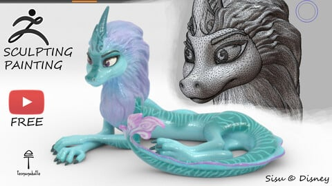 Sisu the Dragon (ZBrush Sculpting Guide) +free 3D model +Painting +Getting ready to 3D-printing. Full creation process.
